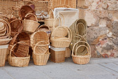 Straw baskets. In Segovia, Spain Royalty Free Stock Photography