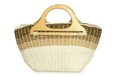 Straw beach basket Royalty Free Stock Photos