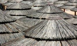 Straw Beach Canopies Pattern fotos de stock