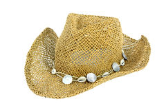 A straw beach hat isolate Stock Image