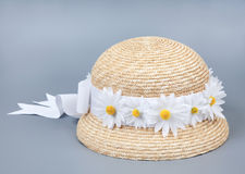 Straw beach hat from the sun Royalty Free Stock Image