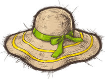 Straw beach hat. With yellow stripes and green ribbon. Vector illustration Stock Image