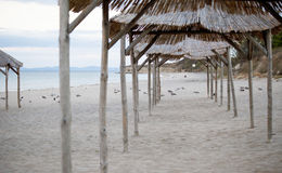 Straw Beach Umbrellas Royalty Free Stock Photos
