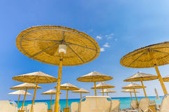 Free Straw Beach Umbrellas Stock Photo - 42156490