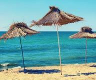 Straw Beach Umbrellas royalty-vrije stock foto's