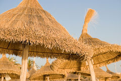 Straw beach umbrellas Stock Photography