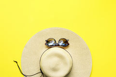 Straw Beach Woman`s Hat Top View Yellow Background Royalty Free Stock Image