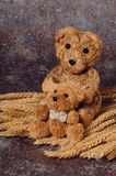 Straw Bear Mum And Infant Vertical Stock Images