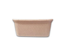 Straw beige basket isolated. Straw beige basket for laundry, home, isolated on white background, nobody stock images