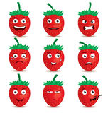 Straw berry emoticon cartoon character eps 10 vector Royalty Free Stock Photos