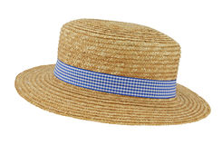 Straw Boater with Check Band. Straw boater hat with blue and white checkered gingham band tilted at an angle Royalty Free Stock Photo