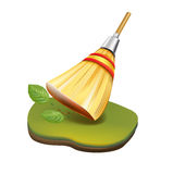 Straw broom cleaning in garden concept isolated Royalty Free Stock Photo