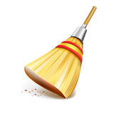 Straw broom  on white background Royalty Free Stock Photos