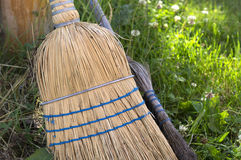 Straw Brooms Royalty Free Stock Photography