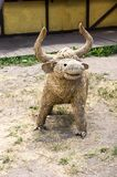 The Straw Bull. A cow made of hay. Sculpture from hay. Statue of hay Stock Images