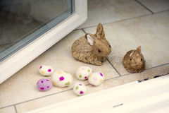 Straw bunny with easter egg at an entrance Royalty Free Stock Photo