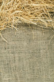 Straw on burlap Royalty Free Stock Photo