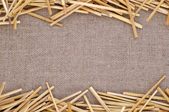 Straw on burlap stock images