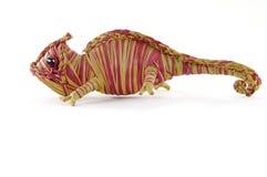Straw Chameleon toys. Crochet  straw  ring-tailed lemur toys Royalty Free Stock Photo