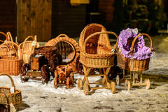 Straw children buggy and other straw souvenirs Royalty Free Stock Photo