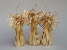 Straw christmas angels Royalty Free Stock Images