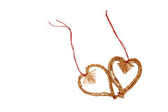 Straw Christmas decoration hearts Stock Image