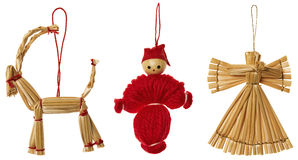 Straw Christmas Hanging Decoration, Xmas Hang Toys Set, Isolated Royalty Free Stock Photos