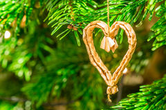 Straw christmas heart Royalty Free Stock Images