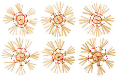 Straw Christmas Snowflake Toys White isolerade, snöflingan Arkivfoton