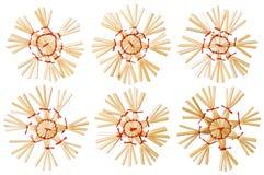Straw Christmas Snowflake Toys White isolou-se, floco da neve Fotos de Stock