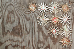 Straw Christmas snowflakes. Stock Photo
