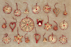 Straw Christmas Tree Decorations Royalty Free Stock Images