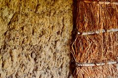 Straw and Clay made wall isolated stock photograph royalty free stock photos