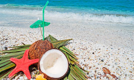 Straw, coconuts and starfish Royalty Free Stock Photography