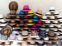 Straw coloful tropical hats in Cartagena stock photo