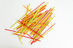 Straw color colorful water suck use concept Royalty Free Stock Photos