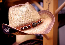 A Straw Cowboy Hat on Display Royalty Free Stock Images