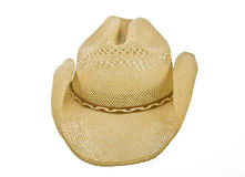 Straw cowboy hat front side on white Royalty Free Stock Images