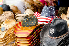Straw cowboy hats in america Stock Photo