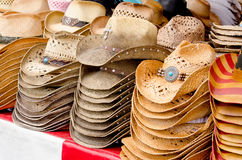 Straw cowboy hats Royalty Free Stock Image