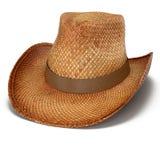 Straw Cowboy-hoed op witte achtergrond Stock Foto's