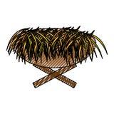 Straw cradle manger icon Stock Photo