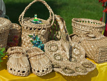 Straw craft,. Products from straw, sale in the market of Ukraine Stock Photos