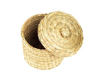 Straw cylinder box with cap isolated Royalty Free Stock Photography