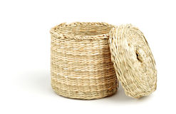 Straw cylinder box with cap Royalty Free Stock Photography