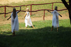 Straw dancing fairies Royalty Free Stock Images