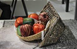 Straw decoration in basket Stock Photo