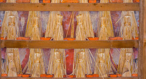 Straw docks for sealing old roofs. Straw docks or straw dolls have often been used to seal old roofs in half-timbered houses Royalty Free Stock Image
