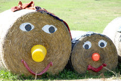 Straw family. A family made out of straw bales Royalty Free Stock Image