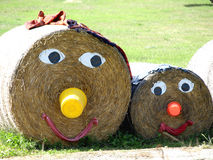 Straw family. A family made out of straw bales Royalty Free Stock Photography